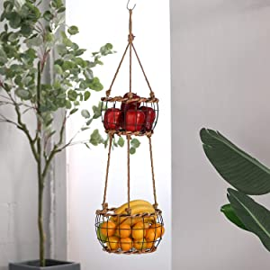 MOCOME Metal Hanging Fruit Basket 2 Tier - Handmade Woven with Rattan - Black Rustic Hanging Baskets for Plant Vegetable - Large Fruit Baskets for Kitchen Boho Decor