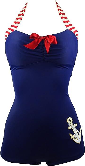43b61dc0ea6 COCOSHIP Navy Blue   Red 50s Retro Nautical Striped Vintage One Piece  Swimwear Anchors Away Halter