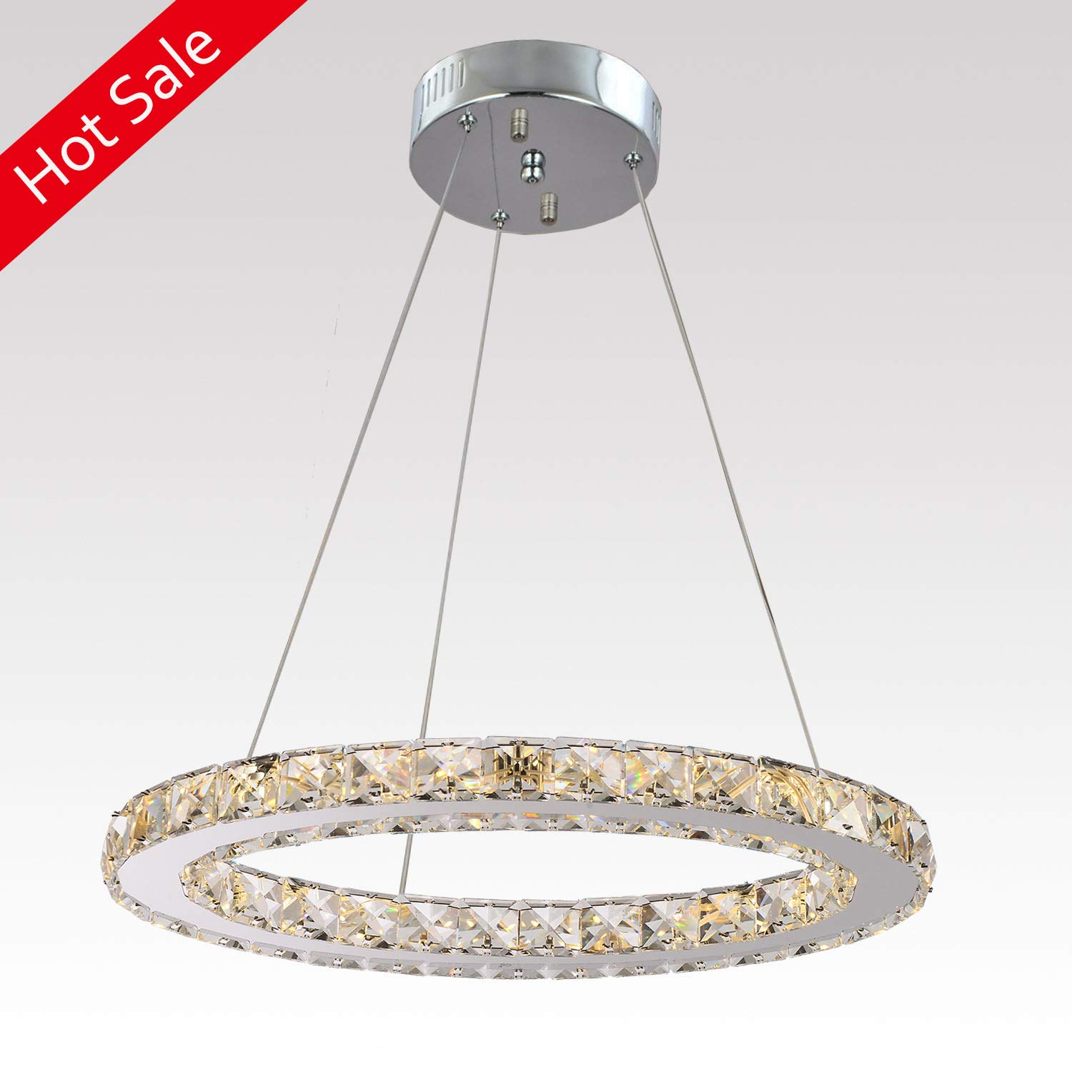 "Ganeed Chandeliers,Crystal Glass Chandelier,Pendant Lighting Ceiling Lights Fixtures for Living Room Bedroom Restaurant Porch Dining Room,One Rings (Dia 11.8"",6500K)"