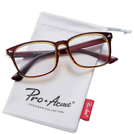 261574154c4 Pro Acme New Wayfarer Non-prescription Glasses Frame Clear Lens Eyeglasses ( Brown)  Amazon.in  Beauty