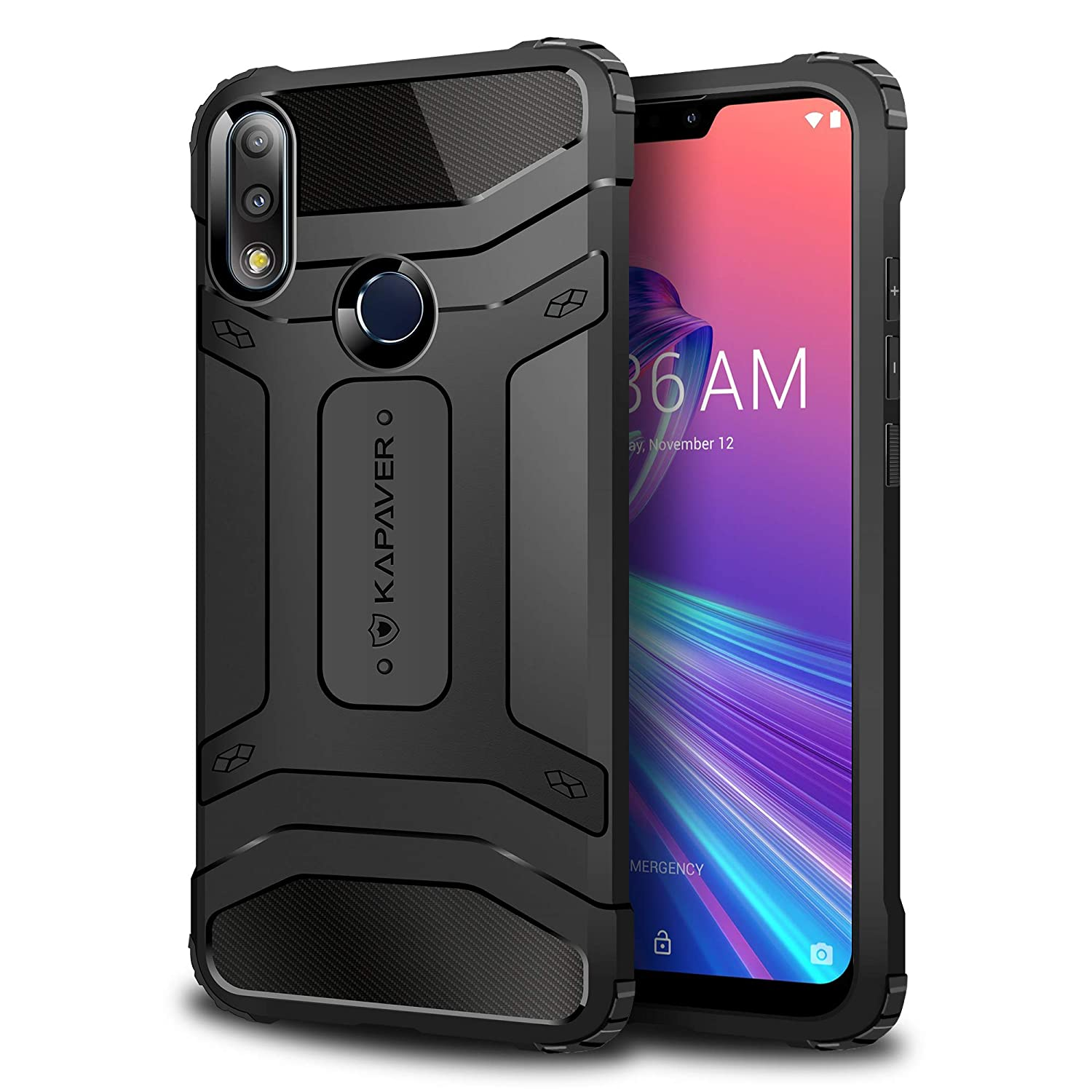 premium selection cc3f9 7fc3d KAPAVER® Asus Zenfone Max Pro M2 Rugged Back Cover Case MIL-STD 810G  Officially Drop Tested Solid Black Shock Proof Slim Armor Patent Design  (Only ...