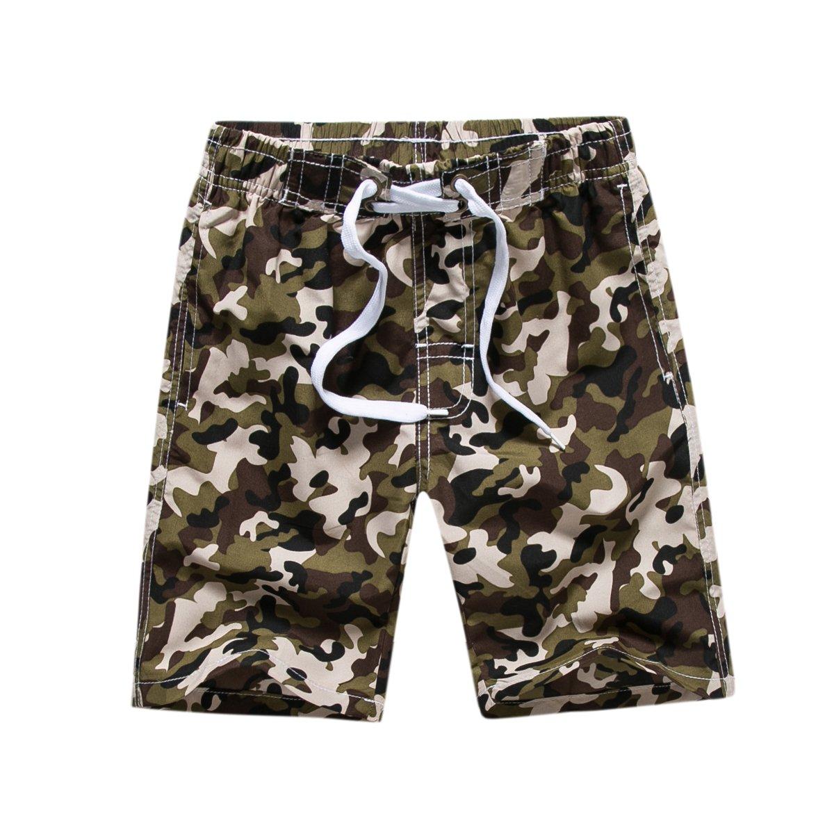 Kute 'n' Koo Big Boy's Swim Shorts, Quick Dry Camo Swim Trunks Boys Bathing Suits (14/16, Green)