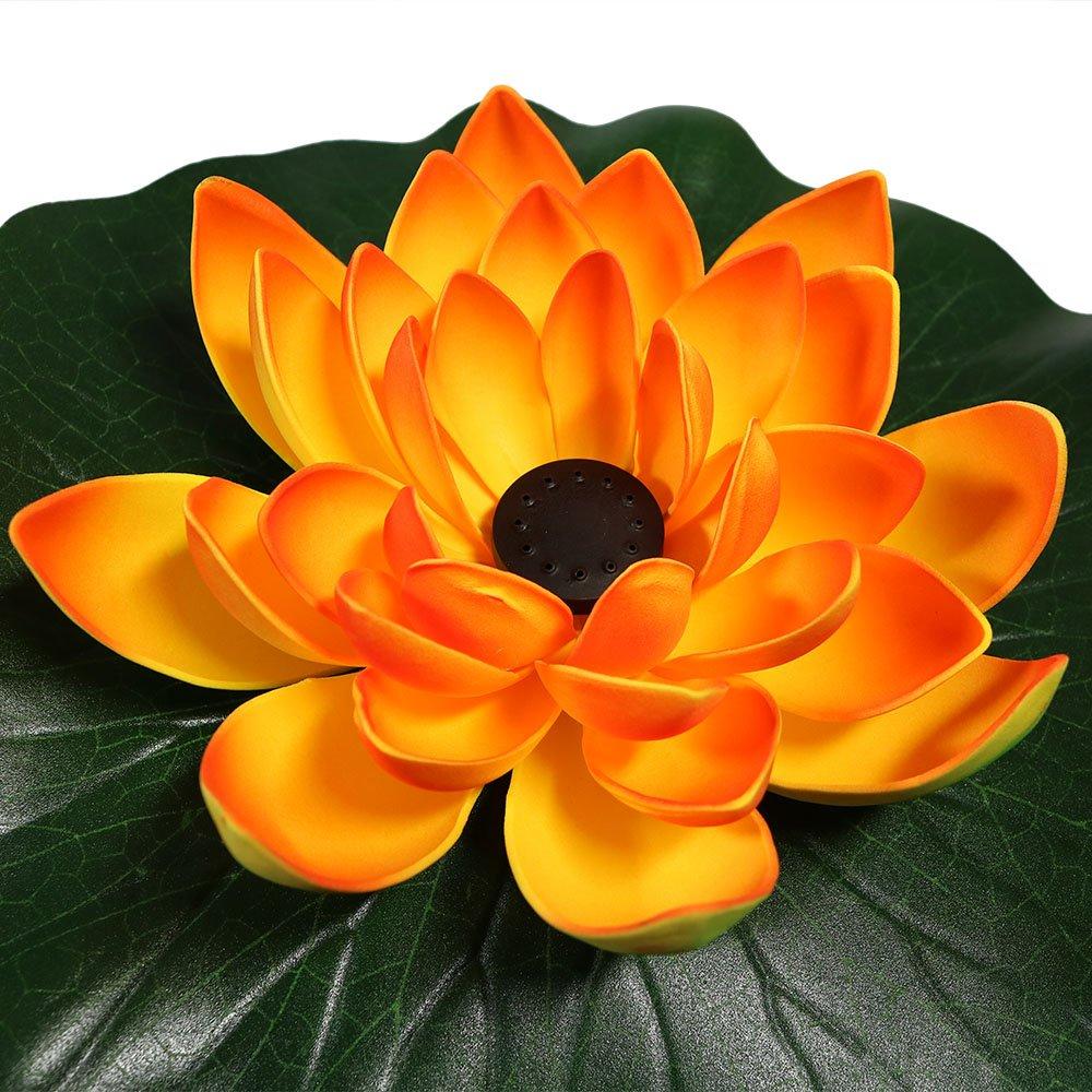 Amazon sunnydaze floating lotus flower solar power pond water amazon sunnydaze floating lotus flower solar power pond water fountain kit 48 gph orange sunnydaze decor garden outdoor izmirmasajfo