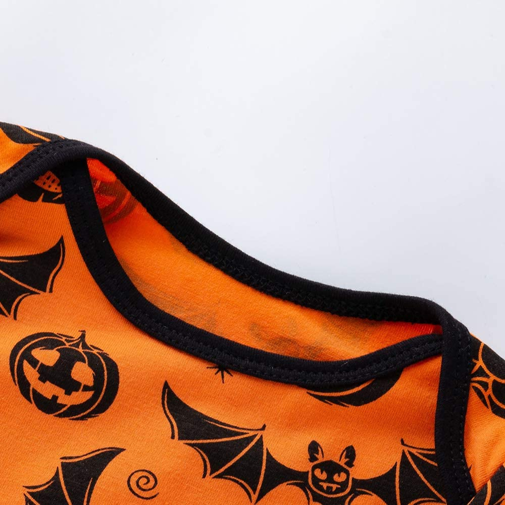 Halloween Baby Boy Girl Clothes Funny Pumpkin Long Sleeve Romper Long Sleeve Tops /& Pants+Bib