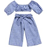 Shorts Jean Suit Summer Kids Outfit Set 2-7 Years Old Zerototens 2Pcs Clothes Set for Toddler Girls Off Shoulder Short Sleeve Denim Shirt Tops