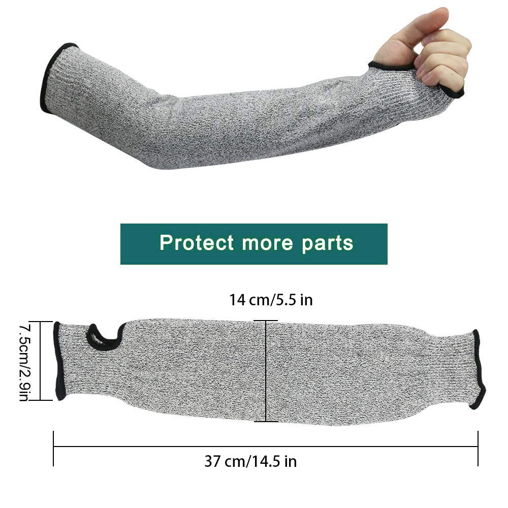 Slash Resistant Safety Protective Arm Sleeves Meloble Cut Resistant Sleeves with Thumb Hole Level 5 Protection