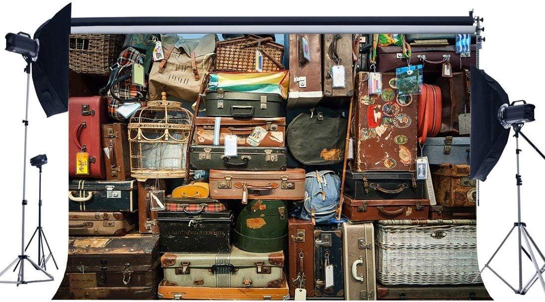 BuEnn Ocean Sailing Backdrop 5X3FT Vinyl Old Barn Backdrops Fotografía Nostalgia Maleta Gabinete Retro Deck Room Wallpaper Fondo para la Persona Viaje al Aire Libre Estudio de Fotos Apoyos YX872