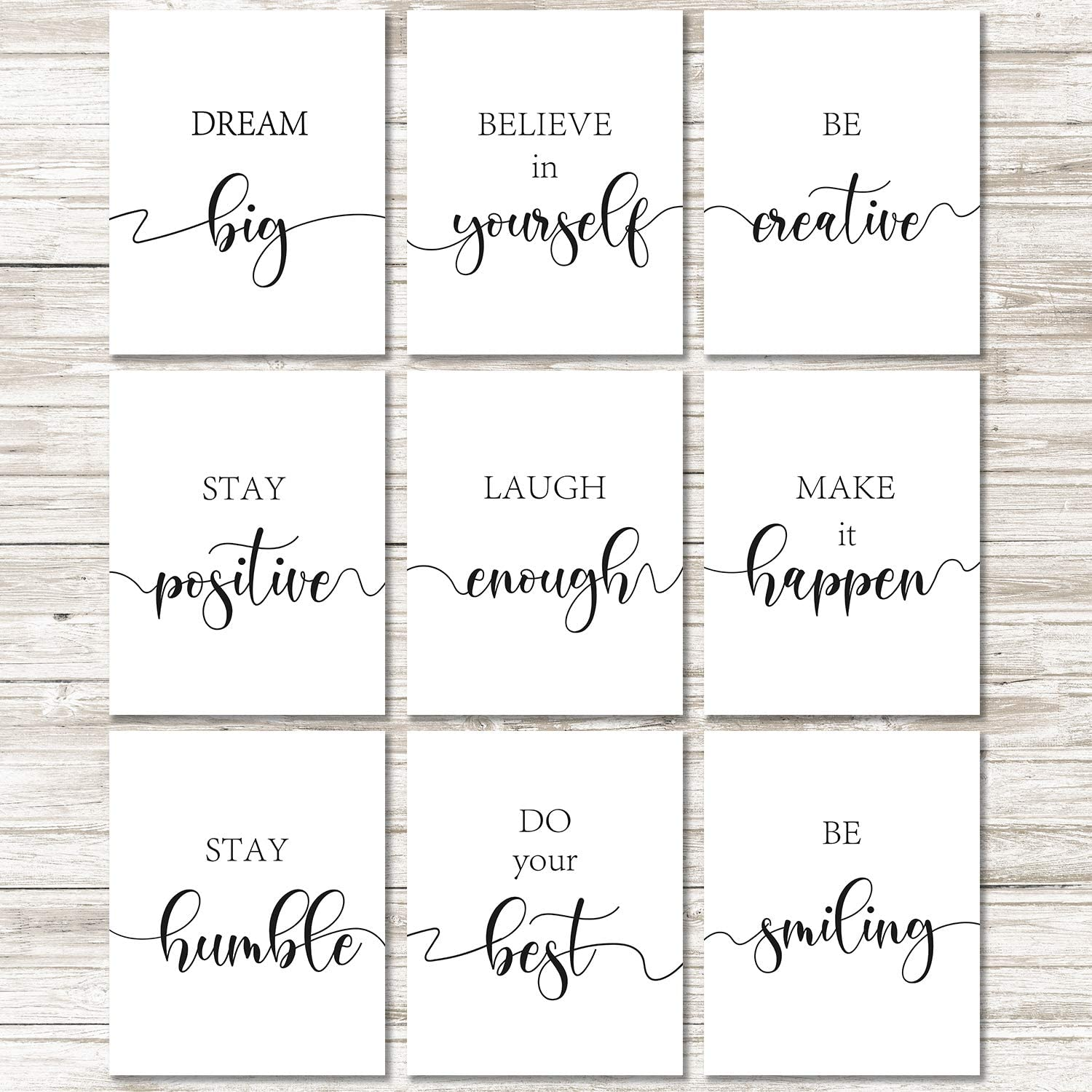 9 Pieces Inspirational Quote Wall Art Posters Motivational Quote Phrases Art Print Poster Unframed Positive Posters for Office or Living Room Home Decoration, Black and White