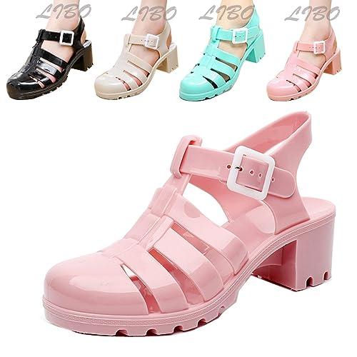381225afb60 Amazon.com   Gaorui Women Jelly Flat Wedge Gladiator Nude Sandals ...
