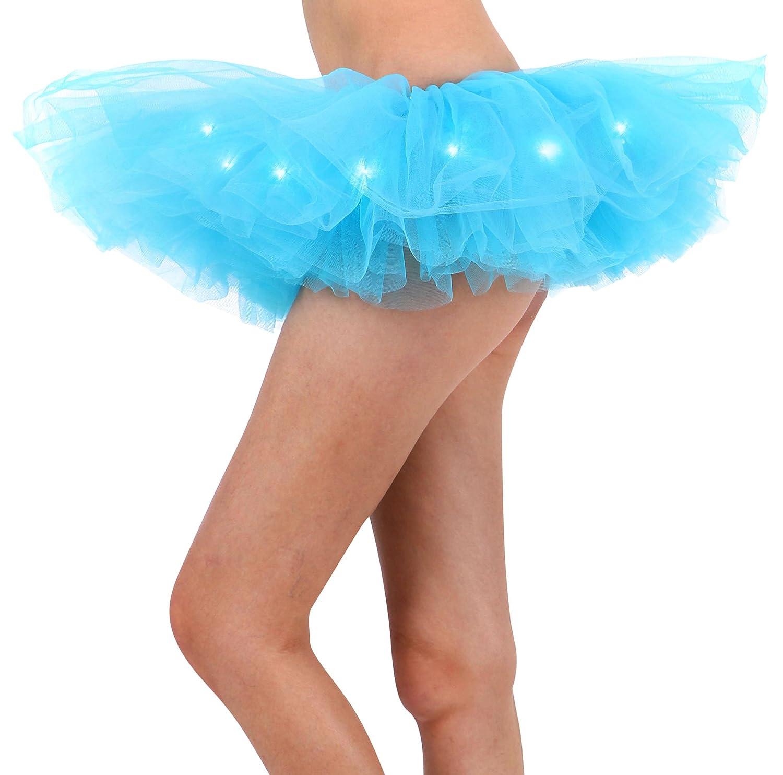 Women\'s Classic 5 Layered LED Light Up Tutu Skirt Party Costume ...