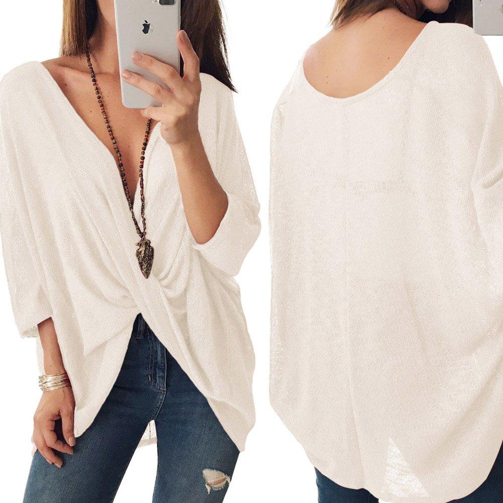 Juleya Mujer Camisa Tejida Oversize Top Camisa de Batwing Cruzada Blusa con Escote en V Sexy Jersey con Ajuste Holgado cómodo Suave Moderno 4 Colores S-XL: ...