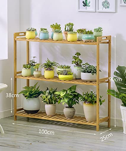 Amazon.com : BJLWT Flower Shelf, Folding Bamboo Frame ...