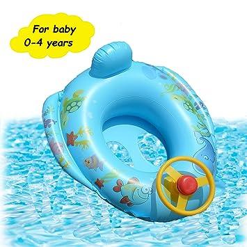 Branger Flotador Antivuelco Bebe Hinchable para Niña e Niño 0-4 Años de Edad Piscina Flotador Natacion Bebe para Coche con Volante Material de PVC ...