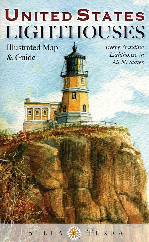 United States Lighthouses Illustrated Map u0026 Guide