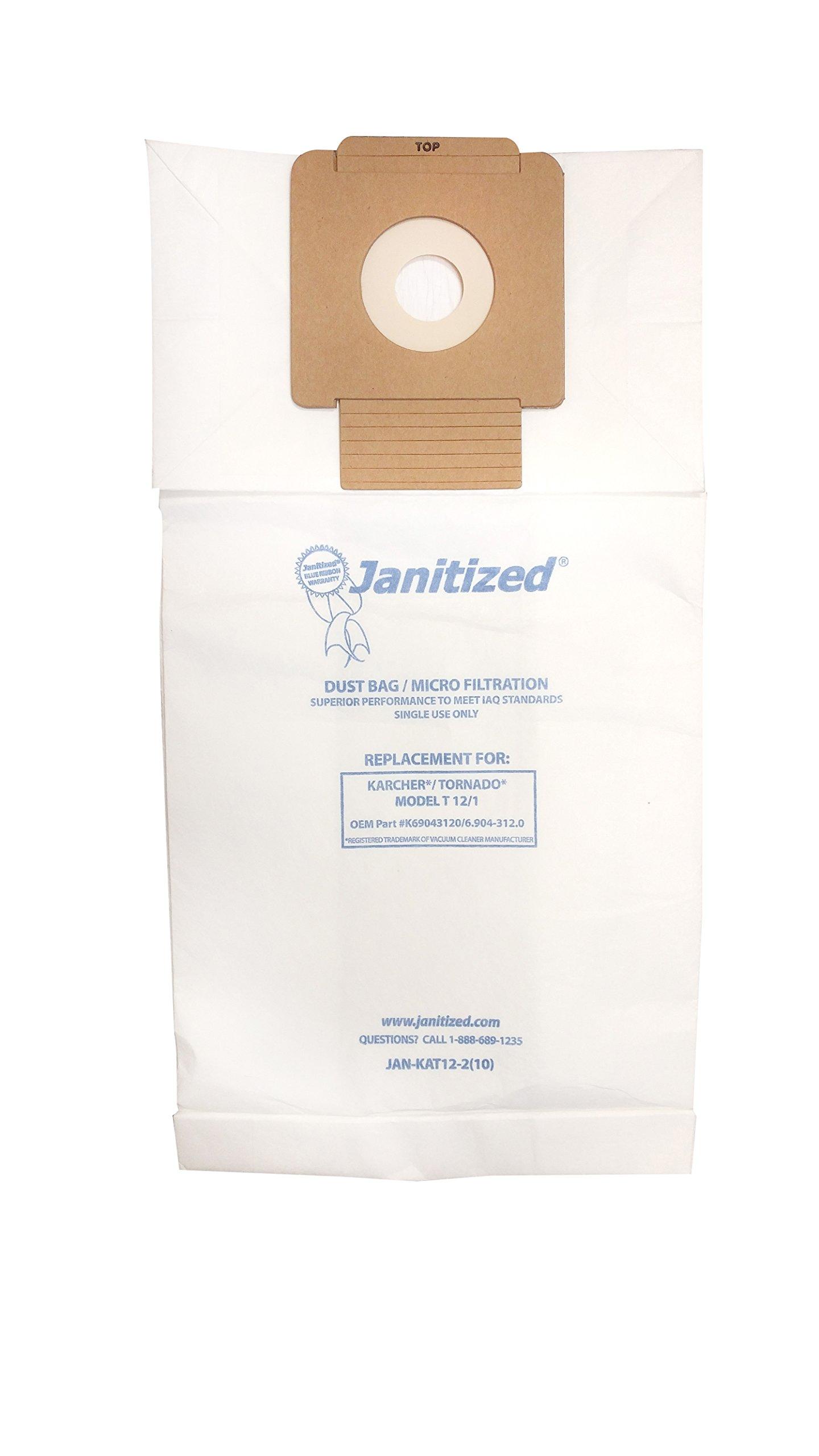 Janitized JAN-KAT12-2(10) Premium Replacement Commercial Vacuum Paper Bag, for Karcher/Tornado Model T12/1 Vacuum Cleaner (10-10 Packs)