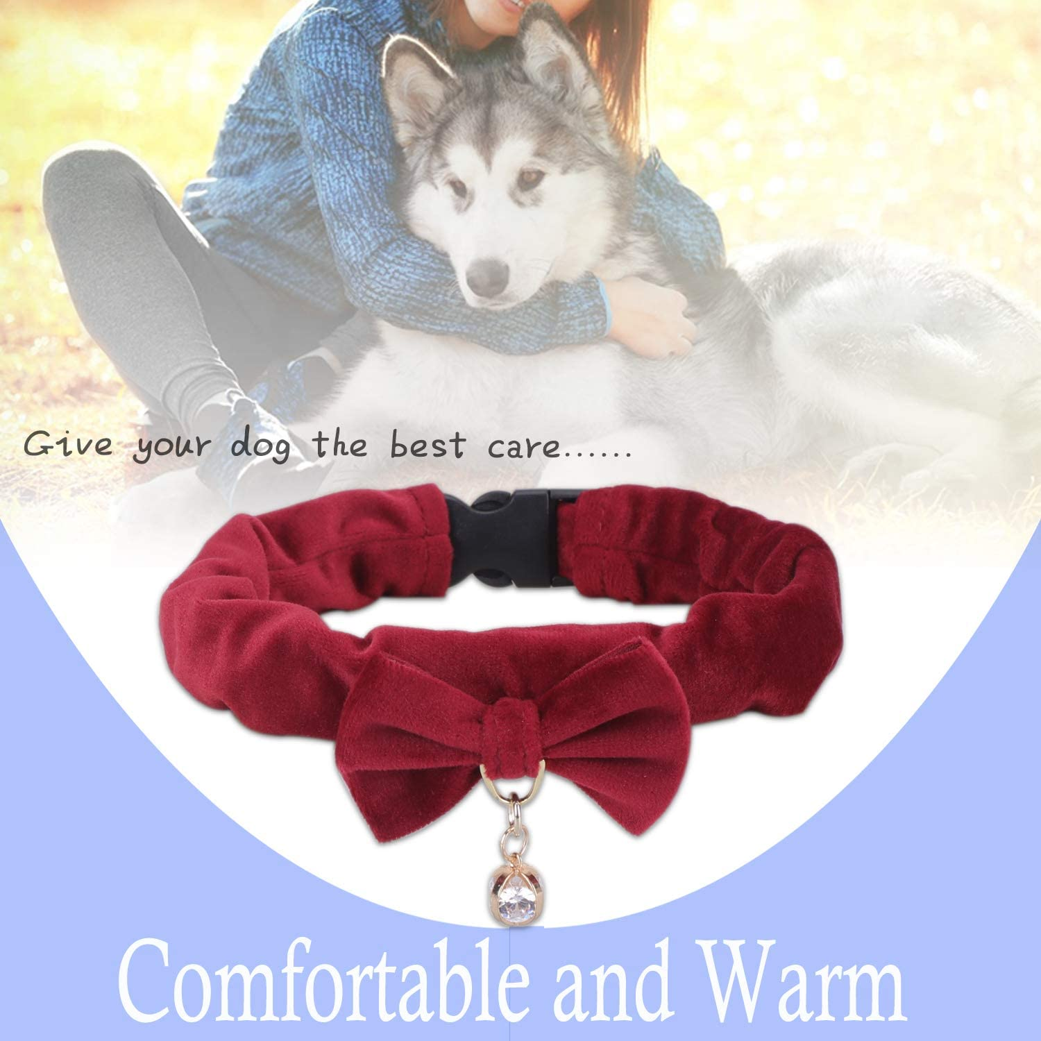 PetsHome Dog Collar Cat Collar Bling Premium PU Leather Adjustable Collars for Small Dog and Cat Small Pink+Red