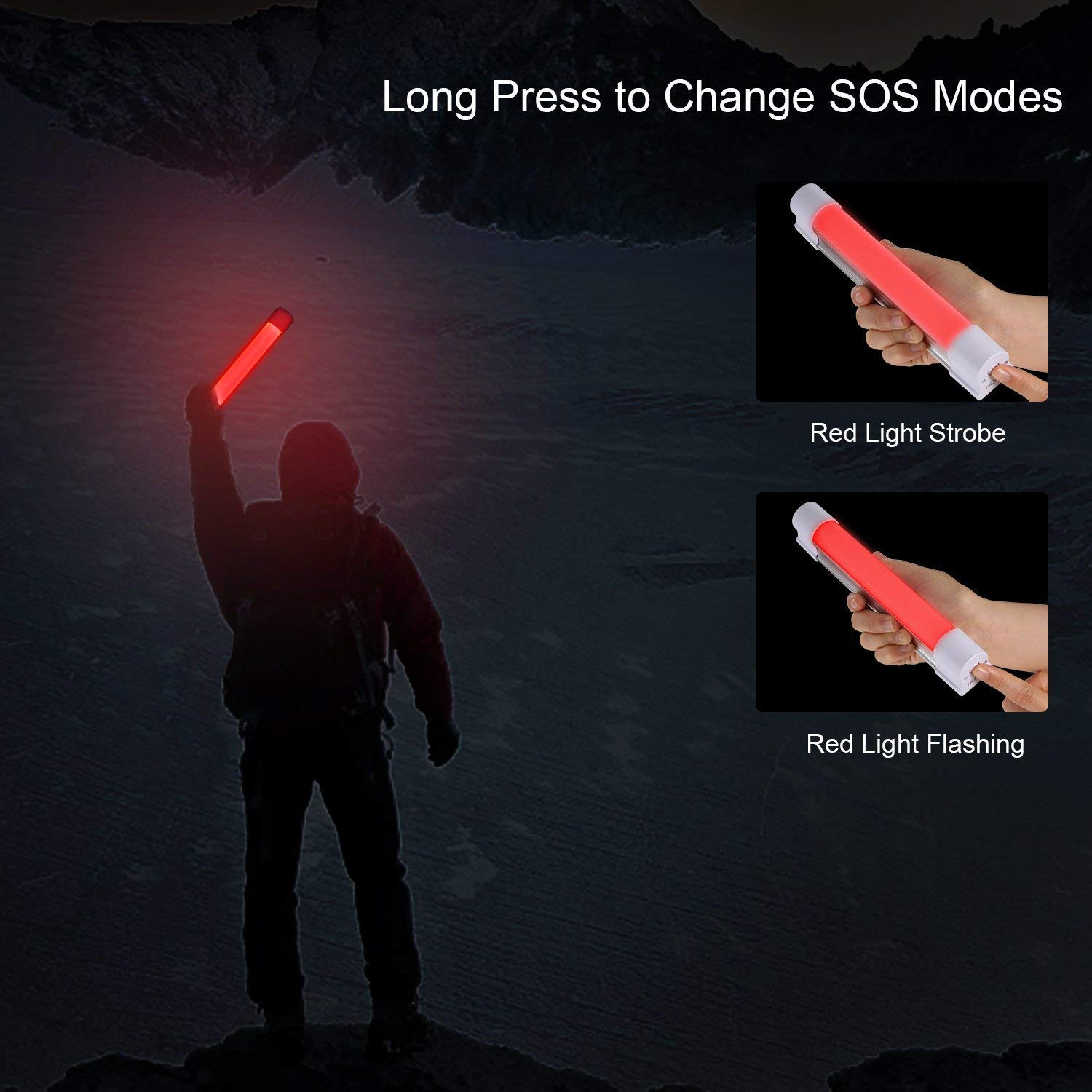 Portable Emergency Light LED Camping Lamp with SOS Mode by HOBFU for Hiking Riding Fishing Car Repairing Flashlight Closet Indoor Outdoor USB Rechargeable with Magnetic Back