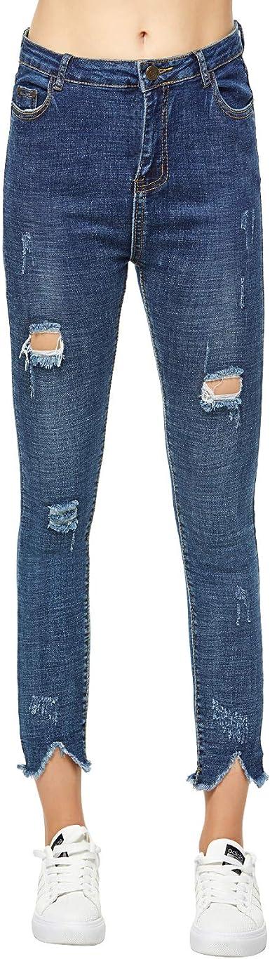 Extreme Pop Mujer Pantalones Vaqueros Rotos De Mezclilla Pantalones Slim De Color Azul Elasticos Amazon Es Ropa Y Accesorios