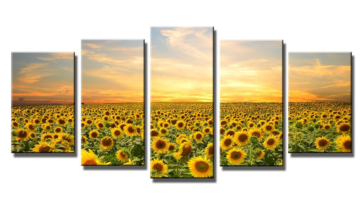 Amazon.com: Wieco Art - Sunflowers Modern 5 Panels Stretched and ...