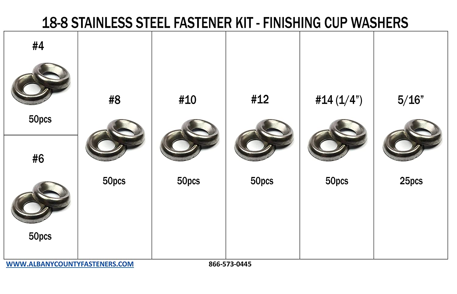 Pack of 12 5//16 Stainless Steel Countersunk Finishing Washers