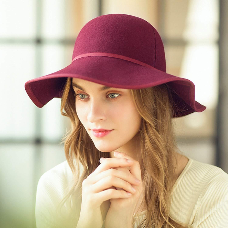 Color : Black, Size : L DSLSM Special Design Hat Fall Winter New Cap Wool Retro Hat Collapable Elegant Hat Women