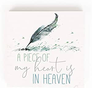 P. Graham Dunn Piece of My Heart Green Feather 5.38 x 5.38 Pine Wood Word Block Plaque