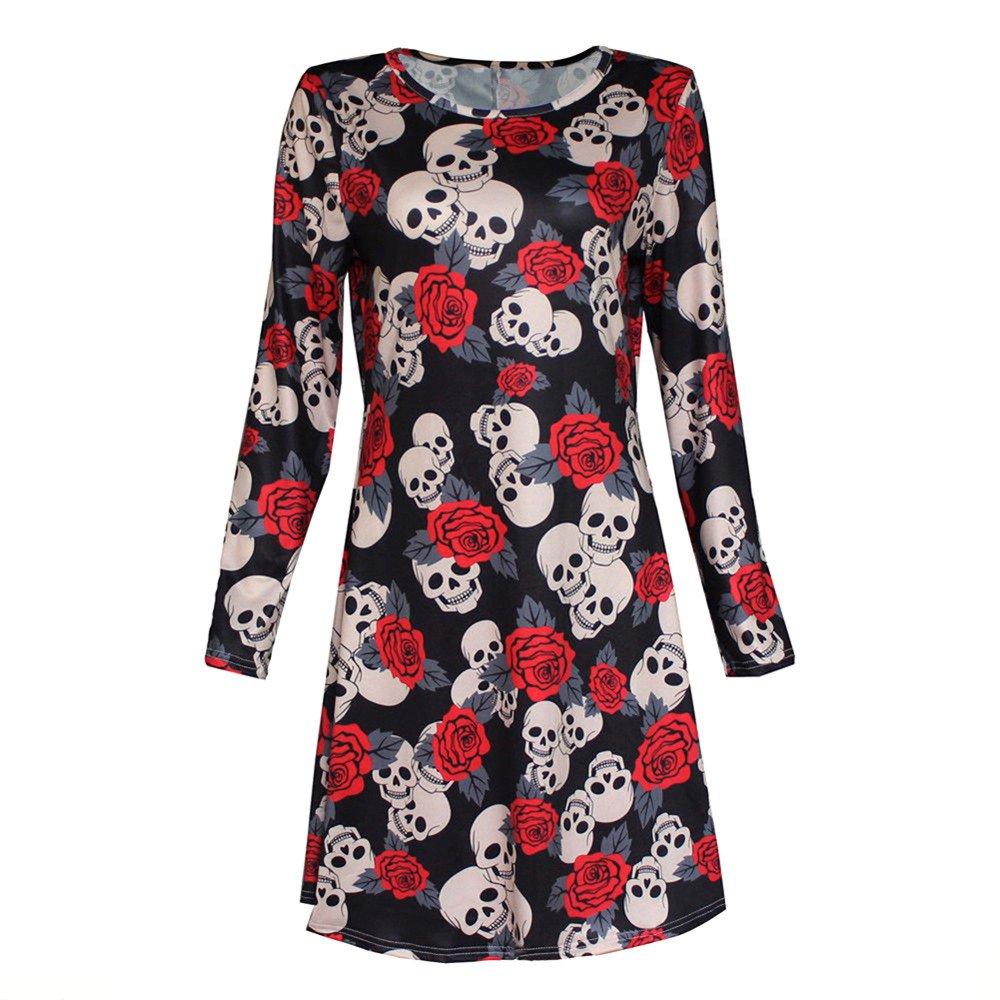 Halloween Clothes, KIKOY New Womens Clearance Skull Long Sleeve Party Mini Dress