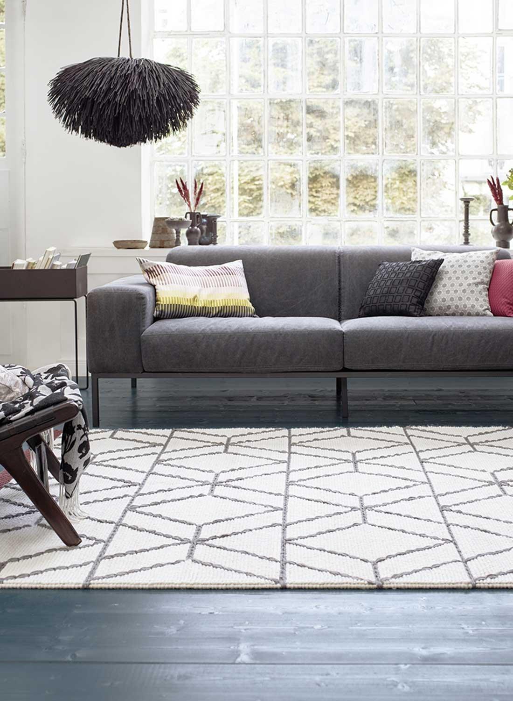 ESPRIT Hexagon Moderner Markenteppich, Schurwolle Baumwolle, Wollweiß, 150 x 80 x 0.8 cm
