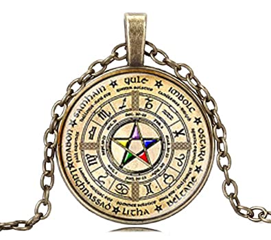 Amazon gemingo all new necklace multi color pendant lighting gemingo all new necklace multi color pendant lighting blue large pentagram necklace wiccan stone pendant for aloadofball Choice Image