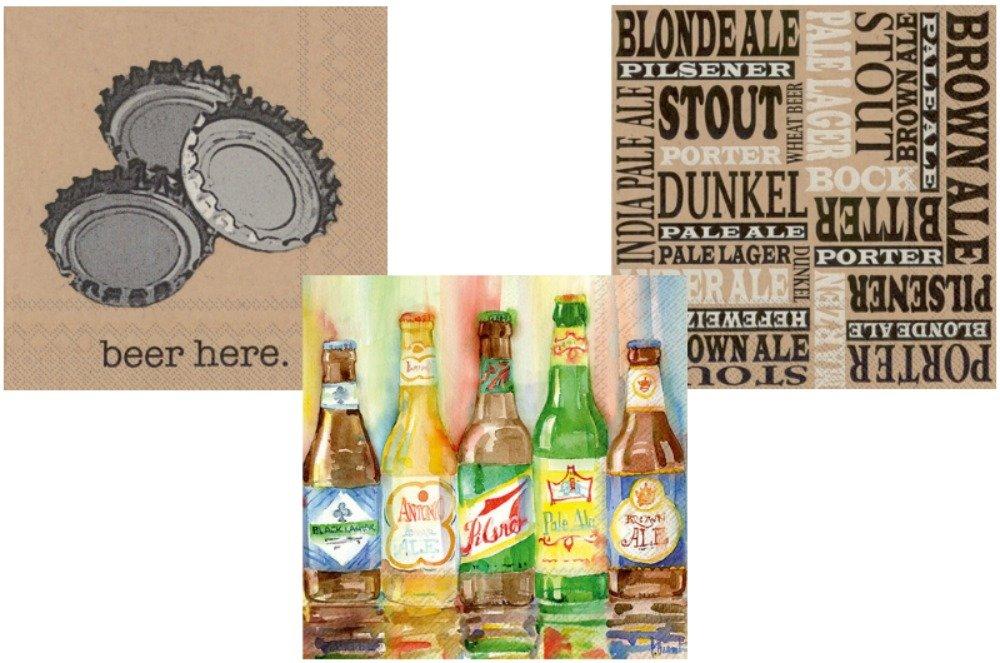ビールナプキンセット – バンドルIncludes 3異なるカクテル飲料ナプキンDesigns B07D6WKB6J