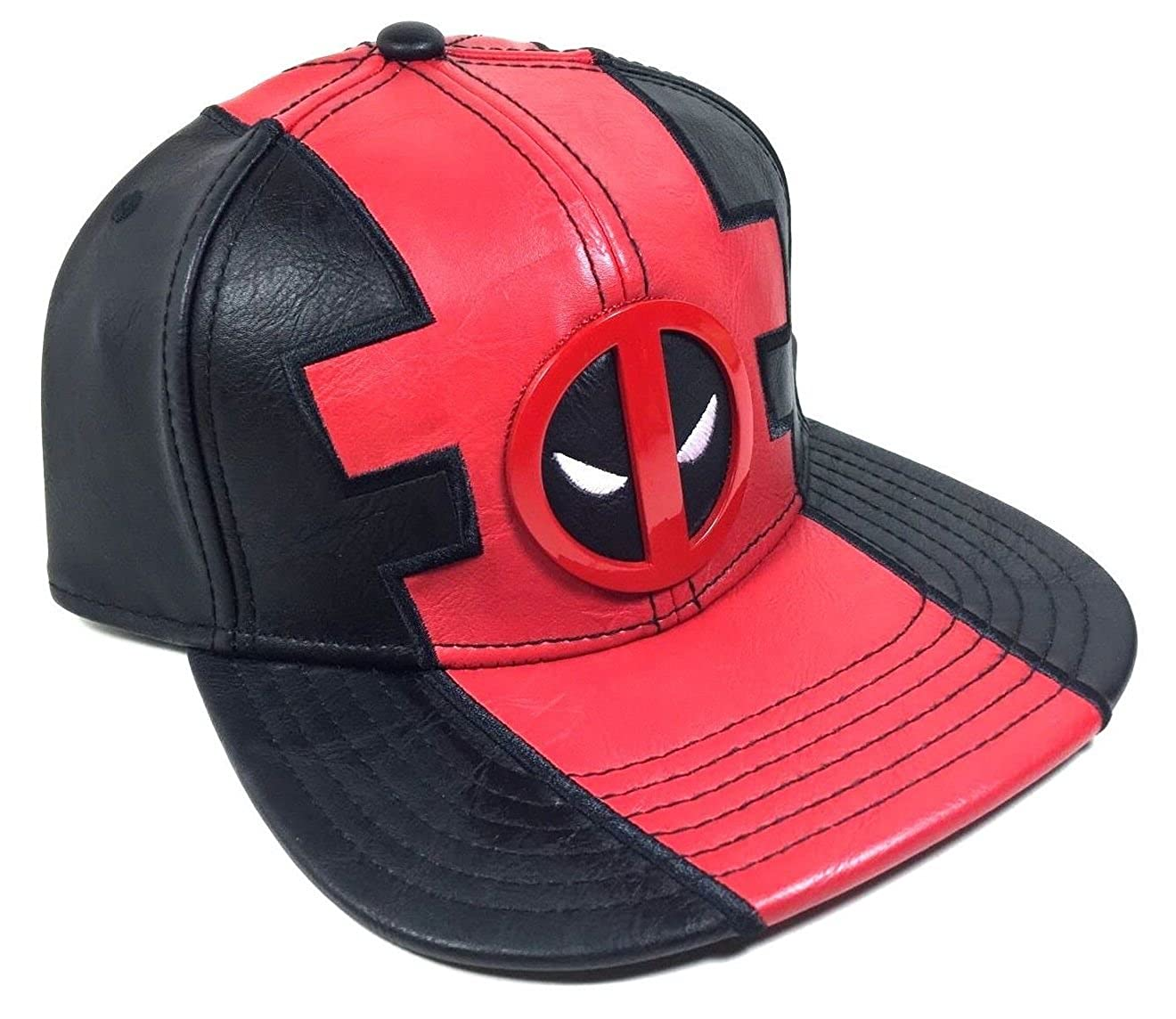 45b41c1640a1e Amazon.com  Marvel Comics Deadpool Suit Up Pu Faux Leather Snapback   Clothing