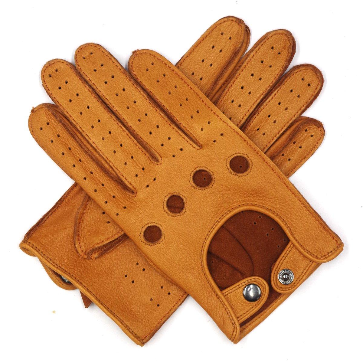 Harssidanzar Mens Leather Driving Gloves Deerskin Unlined