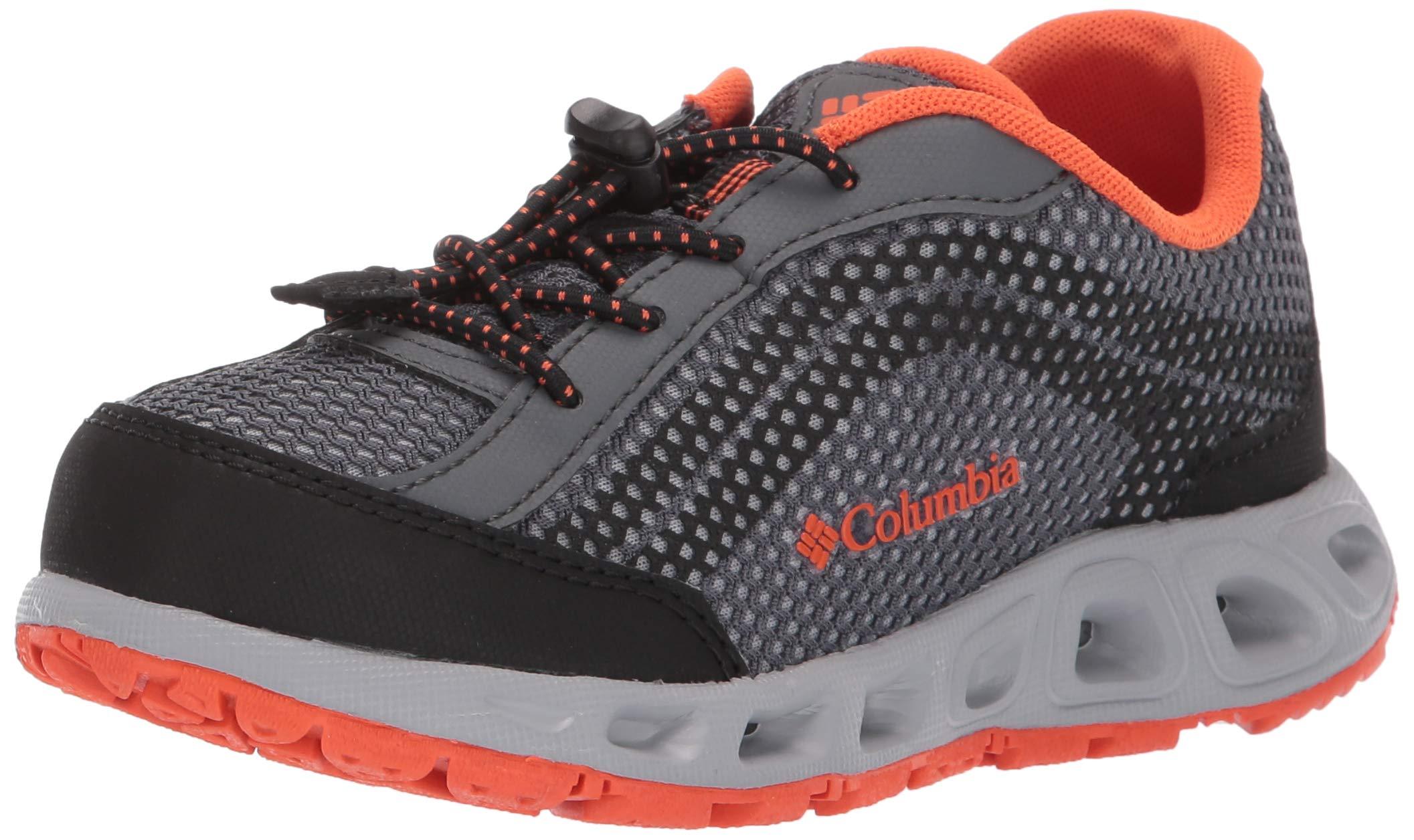 Columbia Unisex Youth Drainmaker IV Water Shoe, Graphite, Tangy Orange, 4 Regular US Big Kid
