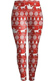 10212322010b8 Pink Queen Women's Christmas Santa Claus Print Leggings Stretchy Tights