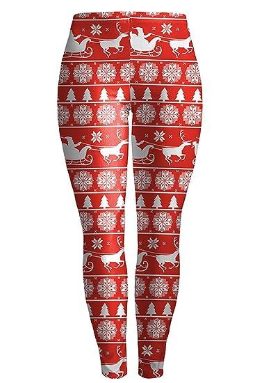 pink queen womens snowflake reindeer stretchy skinny leggings pattern - Christmas Leggings Womens