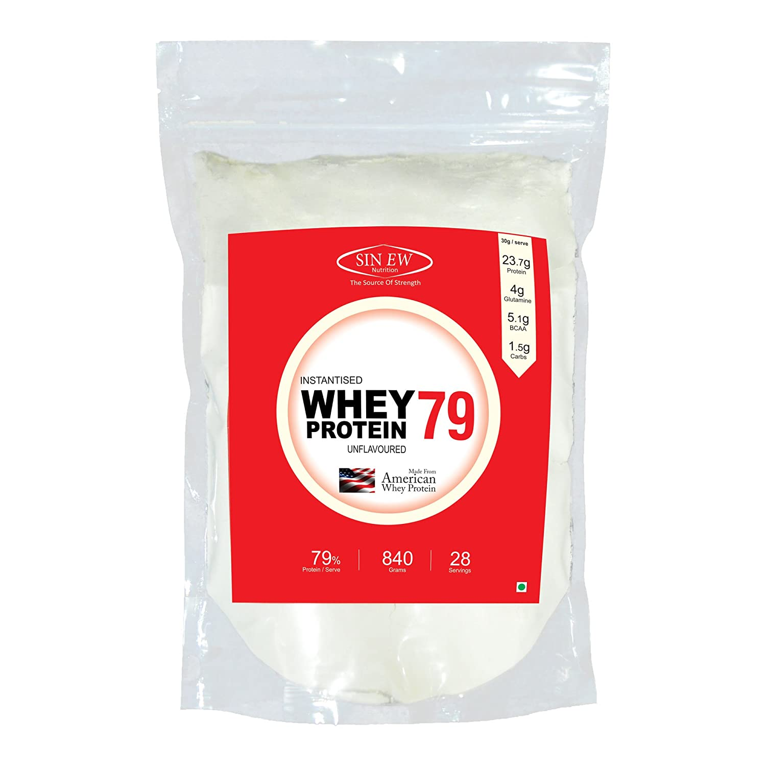 Sinew Nutrition Raw Whey Protein Concentrate 79%, 840 g (Unflavoured)