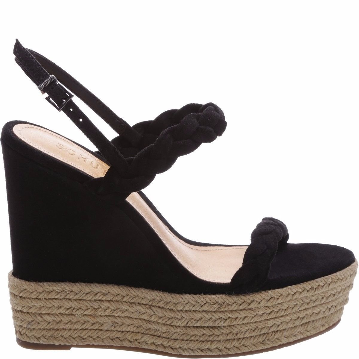 SCHUTZ Kamilly Black Suede Braided Strappy Espadrille Platform Wedge Sandals B07CJPJHF2 9 B(M) US