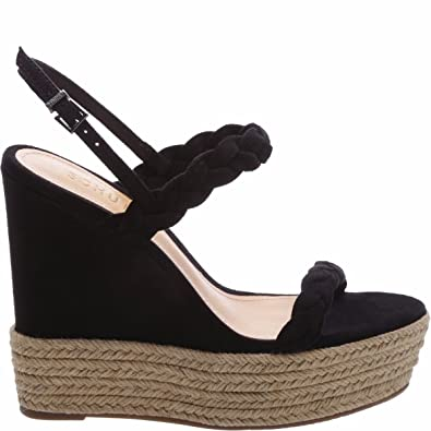 b04dc0fbadf9 SCHUTZ Kamilly Black Suede Braided Strappy Espadrille Platform Wedge Sandals  (8.5)