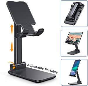 "LISEN Cell Phone Stand, Fully Foldable iPad Stand Compact iPhone Stand, Adjustable Cell Phone Stand for Desk Metal Rod Tablet Holder Stand Compatible with 4""-12.9"" Mobile Phone/iPad/Tablet/Kindle"