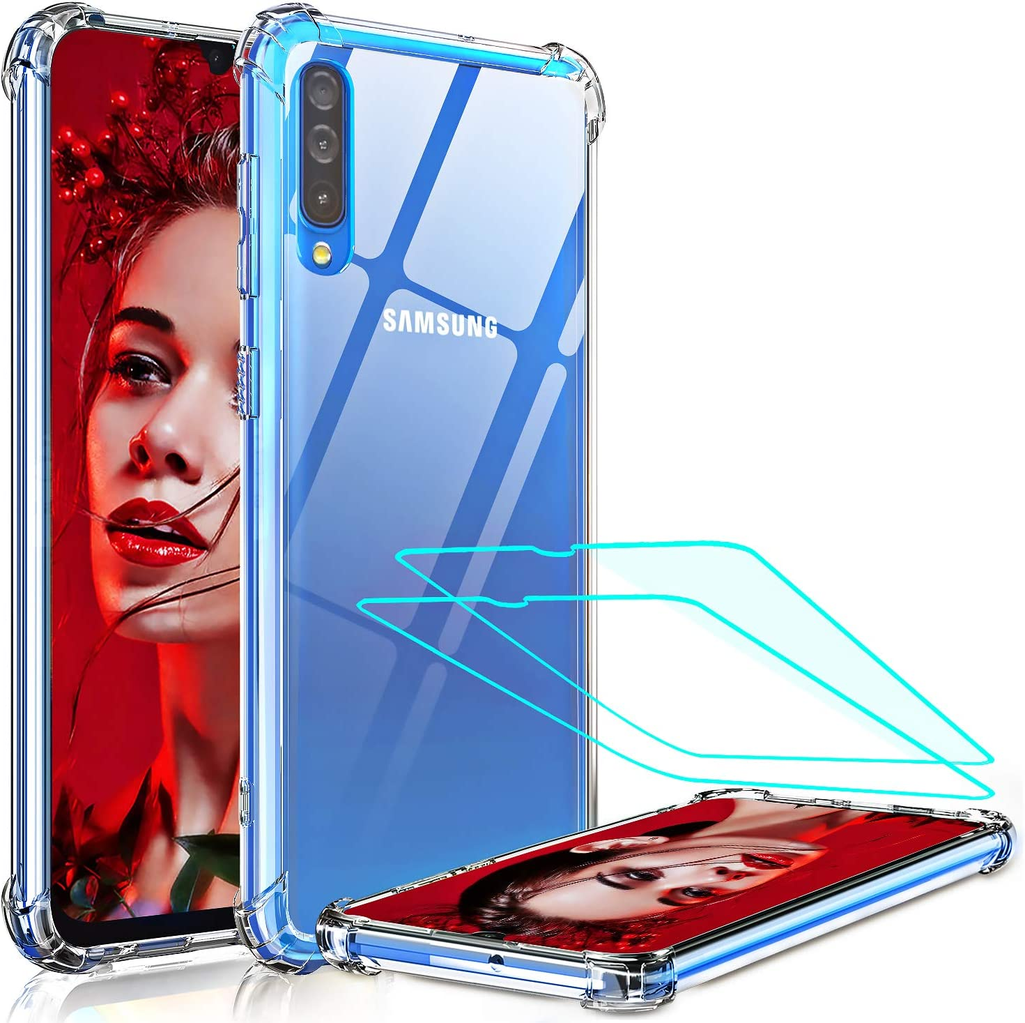 Amazon Com Samsung A50 Case Samsung Galaxy A50 Case With 2 Tempered Glass Screen Protector Leyi Crystal Clear Hard Pc Soft Tpu Anti Scratch Shock Absorption Bumper Hybrid Slim Phone Cover Cases For A50