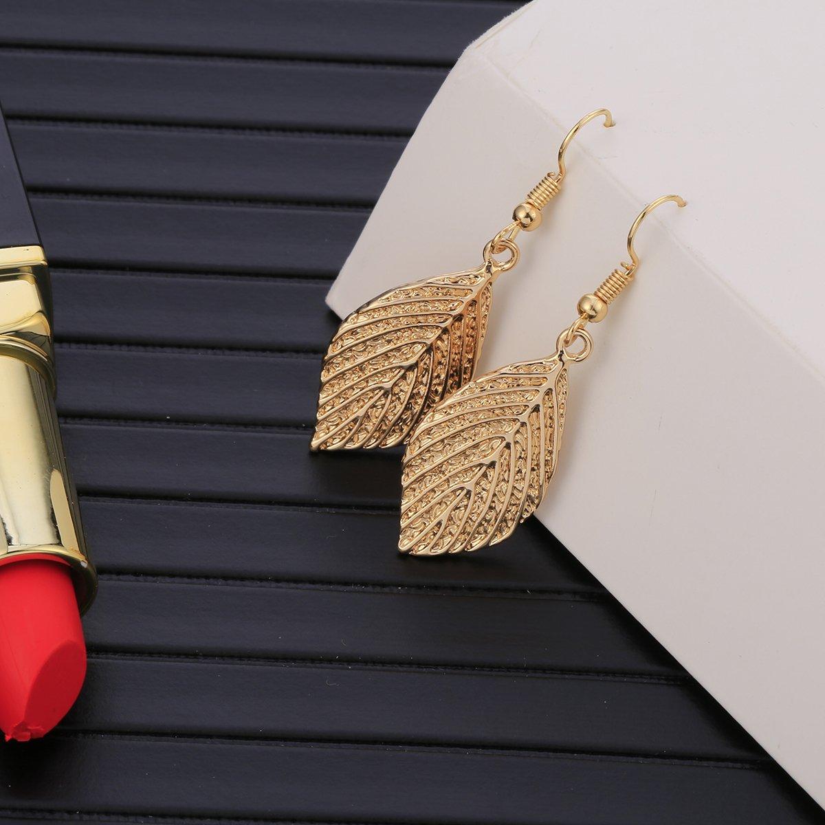 Pendientes colgantes para mujer pendientes de gota de hoja con pendientes de acero inoxidable chapados en oro rosa o plata