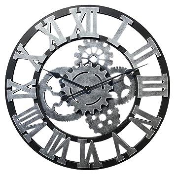 PHYNEDI Horloge Murale Diamètre 60 cm Horloge Engrenage Décoratif Grande  Horloge Pendule Murale en Bois, a0eb8dd83e80