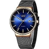 LIGE Relojes para Hombre Reloj de Cuarzo analógico Ultra Delgado y de Moda Simple Gents Negro Reloj de Pulsera…