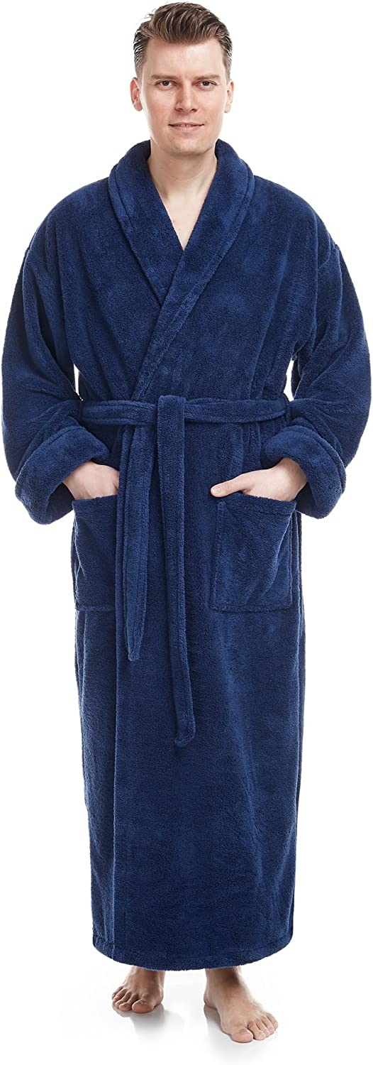 Arus Men's Shawl Collar Full Length Tall Long Fleece Robe, Turkish Bathrobe