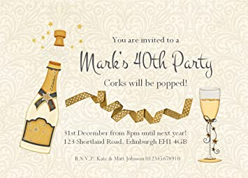 50 PERSONALISED BIRTHDAY PARTY INVITATIONS Champagne Bottle