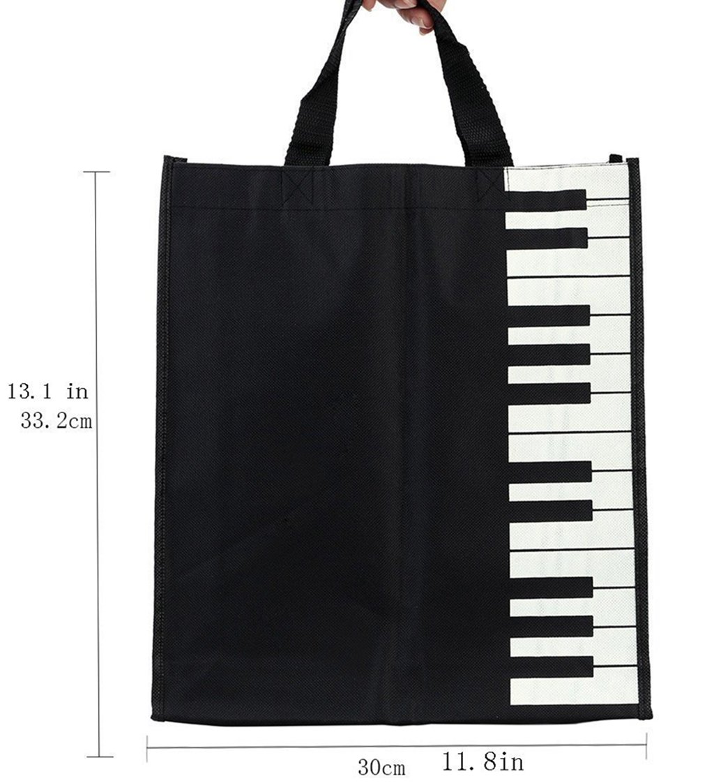 Riashop Hot Fashion Piano Black White Keys Music Handbag Tote Bag Shopping Bag Handbag