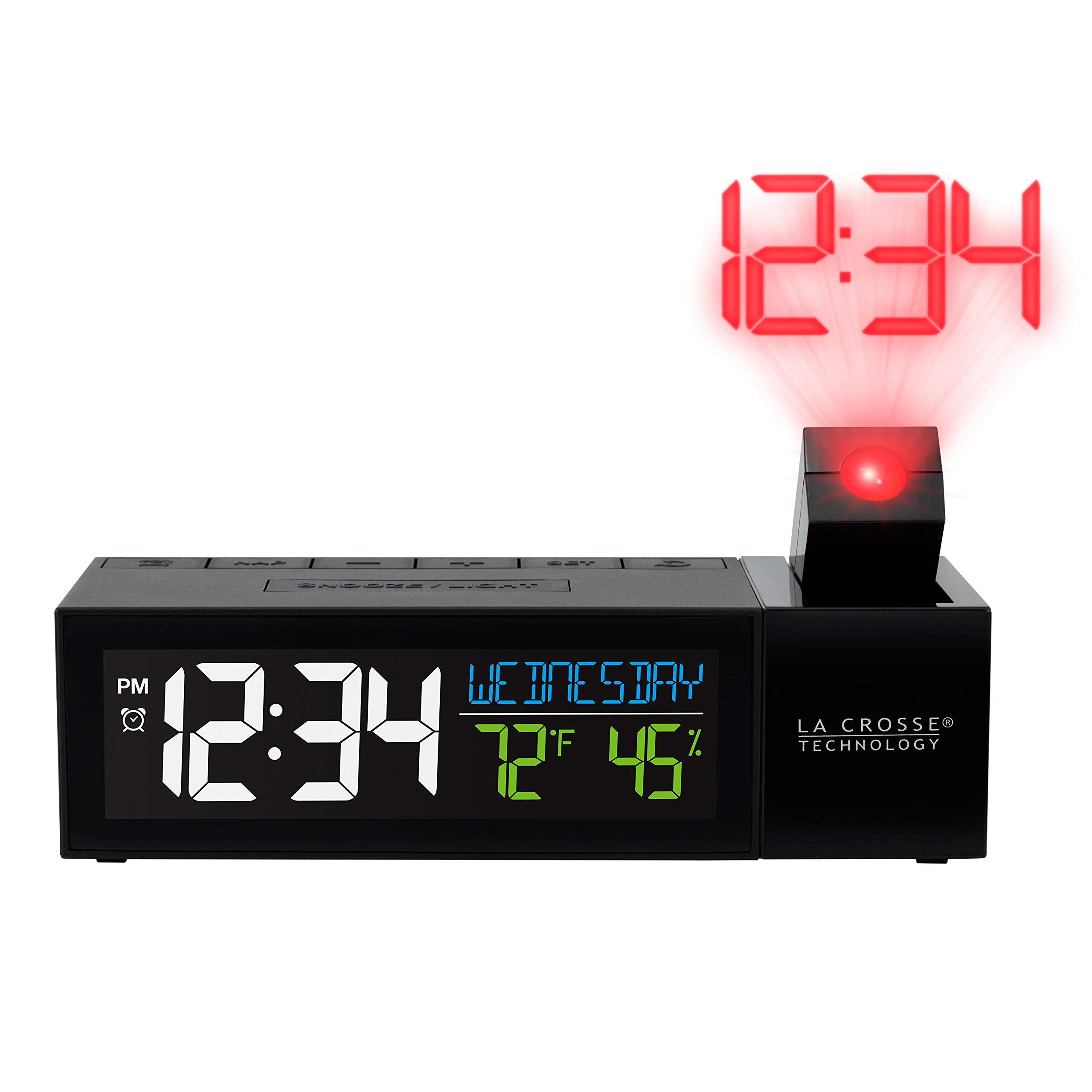 La Crosse Technology 616-1950-INT Pop-Up Bar Projection Alarm Clock with USB Charging Port Black