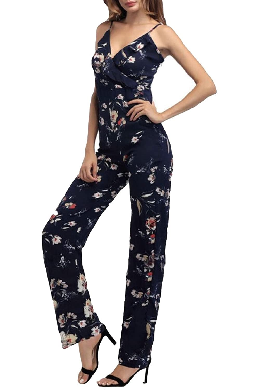 YONGM Women Camisole Casual Floral Print Pocket High Waisted Rompers