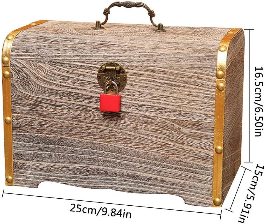 Stockage De Documents De Bijoux Petite Bo/îte en Bois Tirelire R/étro en Bois Massif circulor Bo/îte De Rangement Coffre Au Tr/ésor Cadenas