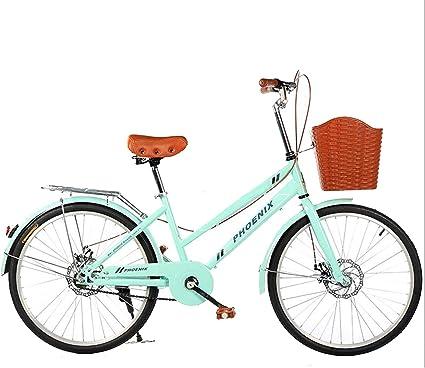 YIHUI Bicicleta De 24 Pulgadas para Mujer, Bicicleta De Carretera, Bicicleta Retro, Bicicleta para Mujer, Acero Al Carbono Doble, Freno De Disco, Bicicleta para Niña,Verde: Amazon.es: Deportes y aire libre